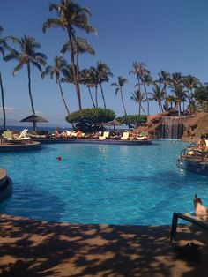 Maui - Hyatt Regency!!!  Stayed here and I remember well the bar under the waterfall!!