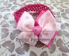 Baby Bow Headband,Baby head band,Pink Baby Hair Bow,Newborn Headband,Toddler Headband - Pink Polka Dot Bow Headband