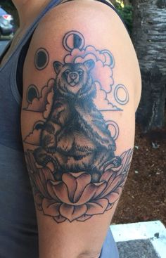 #bear#lotus#moon#phases#imperial#tattoo by Madde Friday