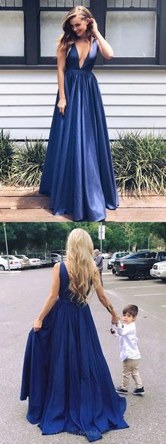 Blue Prom Dresses, Long Prom Dresses, Sexy Prom Dresses For Teens, Taffeta Prom Dresses V-neck, A-line Prom Dresses Draped #prom2k18 #bluedresses #party