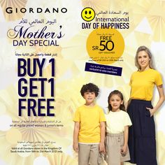 Happiness overloads @ Giordano, Mother's & Happy Days Offers are here -Buy 1 Get 1 Free on women & junior's items plus Free SR 50 to WWS members, till 21st March 2021 only! 🙂 Free Day, Got 1, Buy 1 Get 1, Happy Day, Highlights, March, Happiness, 21st, Women
