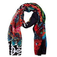 Desigual Women's Twill Ulus Woven Rectangular Foulard Scarf ($44) ❤ liked on Polyvore featuring accessories, scarves, woven shawl, braided scarves, desigual and woven scarves
