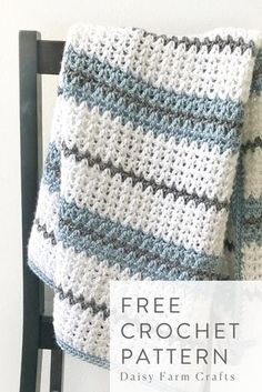 Daisy Farm Crafts Free Crochet Blanket Pattern - Modern Double Crochet V Stitch Blanket Learn the ru Free Baby Blanket Patterns, Afghan Crochet Patterns, Crochet Patterns For Beginners, Knitting For Beginners, Knitting Patterns, Knitting Ideas, Crochet Ideas, Crochet Afghans, V Stitch Crochet