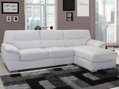 Canapé d'angle en cuir CLOVIS - Blanc - Angle droit