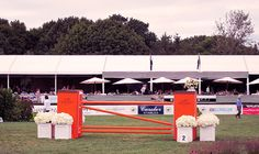 The Hampton Classic - an Hermes jump of course! The sprawling Grand Prix tent can be seen in the background. @Hampton Classic Horse Show. @Hampton Sprinkle Magazine