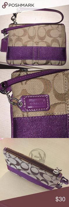 Coach wristlet purple and gold with leather strap Perfect condition, no marks or stains Coach Bags Clutches & Wristlets