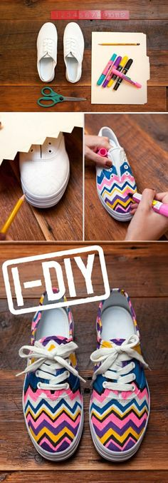 67 Ideas For Sneakers Diy Sharpie Fabric Markers Glow Stick Jars, Glow Jars, Diy Basket, Diy Pom Pom Rug, Discount Kids Shoes, Plain Canvas, Fabric Markers, Cool Diy Projects, Sharpie