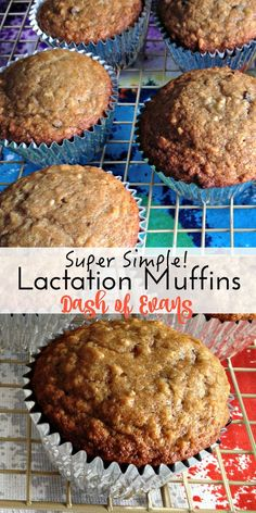 Banana Chip Lactation Muffins. Super quick and easy, great to double the batch for the freezer! via @Ashleigh Evans | Dash of Evans