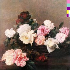 "Cover art for the album ""Power, Corruption & Lies"" by New Order, designed by Peter Saville, based on the painting ""A Basket of Roses"" by Henri Fantin-Latour New Order Album Covers, Greatest Album Covers, Rock Album Covers, Music Album Covers, Music Albums, Music Books, Peter Saville, Cover Art, Lp Cover"