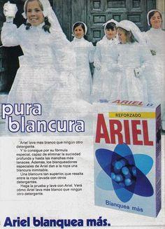 Ariel lava més blanc hui i ho feia fa 35 anys. En 1975 les xiquetes que feien la…