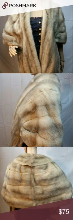 Sapphire Mink Fur Stole Vintage Blue Iris Grey This stole is a light grey color with baby blue hightlights. The lining has some yellowing around the collar and I need to mend the fabric sides as the hems have come undone. The fur is very nice. I've freshened this but it MIGHT have a slight attic smell if you are highly sensitive to antiques. It is clean however. MEASUREMENTS: Shoulders 20 End to End Bust: 52 Front Panel Width: 8.5 Collar2Hem: 19 PRICE FIRM! No trades. Jackets & Coats Capes