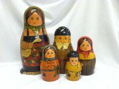 Antique Early Russian Nesting Dolls Folk Art Wood Wooden Figures Toy Matryoshka | eBay