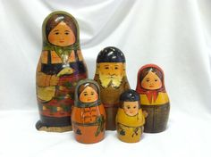 Antique Early Russian Nesting Dolls Folk Art Wood Wooden Figures Toy Matryoshka | eBay