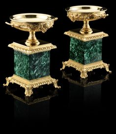 BALDI Blackberries Small Cup in Malachite with 24Carat Heavily Goldplated Bronze