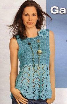 Blue Top free crochet graph pattern