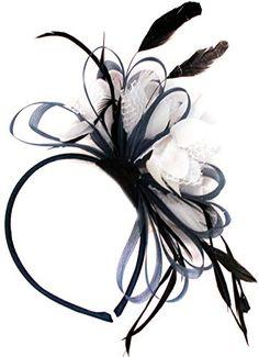 Royal Blue and White Net Hoop Feather Hair Fascinator Headband Wedding Royal Ascot Races