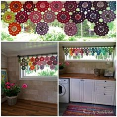 Crochet curtain of Japanese Flowers by BautaWitch Pattern in Swedish… Crochet Puff Flower, Crochet Flower Patterns, Love Crochet, Crochet Motif, Crochet Yarn, Crochet Flowers, Crochet Borders, Crochet Squares, Crochet Curtain Pattern
