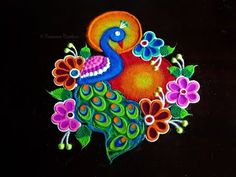 Beautiful and unique peacock rangoli for upcoming festivals Rangoli Designs Peacock, Indian Rangoli Designs, Simple Rangoli Designs Images, Rangoli Designs Latest, Rangoli Border Designs, Rangoli Patterns, Colorful Rangoli Designs, Rangoli Ideas, Beautiful Rangoli Designs