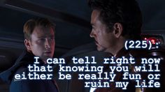 """If you follow Iron Man and Captain America in the comics, then you know that it should read """"and"""" instead of """"or""""."""