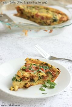 crustless quiche.  This is freezable and reheatable.  THM S