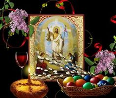Felicitare Hristos a Inviat Greek Easter, Home Altar, Byzantine Icons, Holy Spirit, Happy Easter, Easter Eggs, Catholic, Wallpaper, Painting