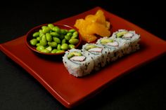 a healthy kids meal - kids classic cali with edamame and oranges.