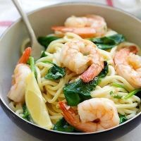 Shrimp and Spinach Spaghetti | Easy Delicious Recipes