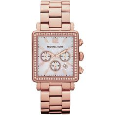 Michael Kors Ladies' Hudson Rose Gold Glitz Watch With Square Dial