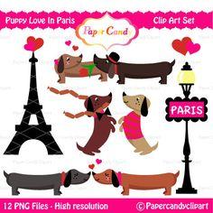 Puppy Love In Paris Digital Clip Art. £3.25, via Etsy.