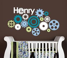 Cogs, Wheels and Gears Vinyl Wall Decal for Nursery, Kids, Childrens Room. Soo cute for robot theme Cute Teen Rooms, Baby Boy Rooms, Baby Boy Nurseries, Baby Room, Punk Nursery, Robot Nursery, Themed Nursery, Name Wall Decals, Nursery Wall Decals