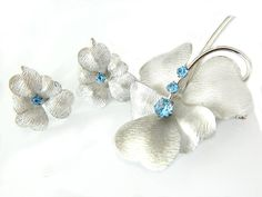 Vintage Sterling Silver Set Carl Art Collectible Jewelry Brooch And Earrings Silver Blue Rhinestone Flower Retro Modern Jewelry Christmas