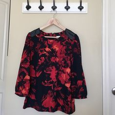 Red and navy top Office or happy hour appropriate top with on trend faux leather detailing on shoulders. Like new! Merona Tops Blouses