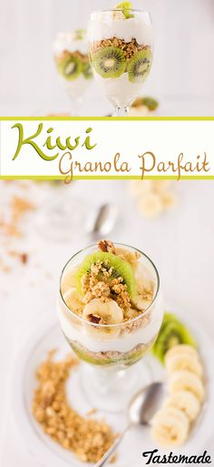 A Kiwi Parfait made with greek yogurt, granola, bananas and honey is the perfect way to start your morning.