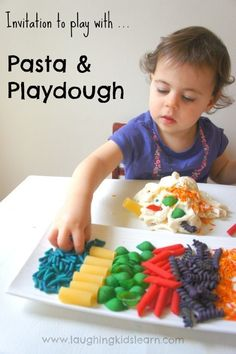 Invitation to play with pasta and playdough. -