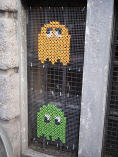 Cross-stitched Pac Man street art