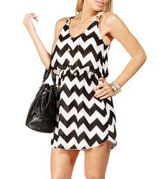 Black/White Chevron 2 Strap Dress