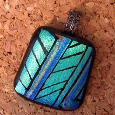 Hand Etched Dichroic Pendant Fused Glass Pendant by GlassMystique, $22.00