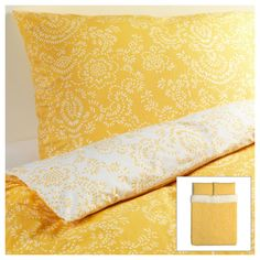 IKEA Akertistel Duvet Quilt Cover Full Queen Yellow retro floral ÅKERTISTEL New #IKEA #Country