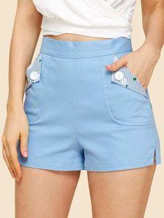 Para encontrar Shorts cónicos con bolsillo con botón  en SHEIN, nuestra colección de Shorts está lista para que la compres online ¡hoy mismo! Smart Shorts, Diy Shorts, Summer Shorts Outfits, Skirt Outfits, Cute Outfits, Bollywood Outfits, Tailored Shorts, Short Suit, Skirt