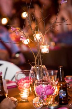 candles and branches centerpiece