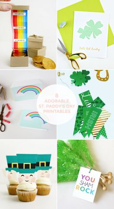 8 ADORABLE PRINTABLES FOR ST. PATRICK'S DAY St Patricks Day Crafts For Kids, St Patrick's Day Crafts, Art And Craft, Rainbow Card, Easter Peeps, Paddys Day, Leprechaun, Diy Paper, Cupcake Toppers
