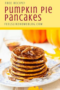 The best healthy, simple and easy pumpkin pancakes recipe - Light and fluffy pancakes from scratch. Great for kids, toddler, or baby because they taste like pumpkin pie. Homemade recipe but quick using canned pumpkin. Pumpkin Pancakes Easy, Healthy Pumpkin Pies, Pumpkin Pie Recipes, Canned Pumpkin, Pumpkin Spice, Pumpkin Pumpkin, Brunch Recipes, Breakfast Recipes, Fall Recipes