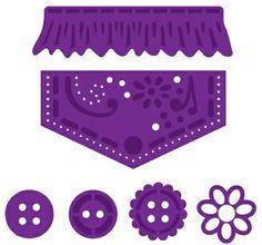 Joy! Crafts Dies - 6002-0062 - Pocket accessories    Diesen kutter og embosser og kan brukes i de fleste kuttemaskiner på markedet.6 dies i pakken.