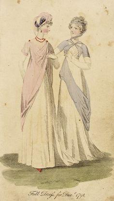 Fashion Plate (Full Dress for Decr. etchings Hand-colored etching on paper 1800s Fashion, 18th Century Fashion, European Fashion, Retro Fashion, Medieval Fashion, Ethnic Fashion, Regency Dress, Regency Era, Historical Costume