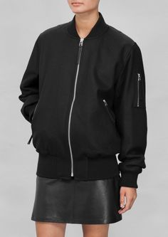 Made from a warm wool blend, this bomber jacket features a timeless yet edgy style. Wool Bomber Jacket, Bomber Jackets, High Fashion Outfits, Black Outfits, Edgy Style, Minimal Fashion, American Apparel, Casual Wear, Wool Blend