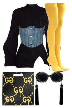 """Rylei."" by revolutionluxx ❤ liked on Polyvore featuring Jacquemus, Gucci and Balenciaga"
