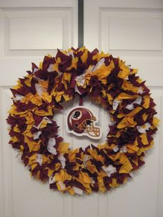 NFL: Washington Redskins Fabric Wreath. $46.00, via Etsy.