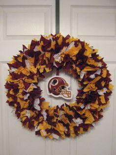 NFL: Washington Redskins Fabric Wreath. $46.00, via Etsy.
