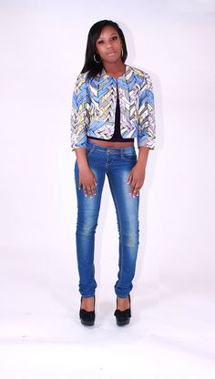 Blue & White African Tribal Print Crop Jacket by BrookandEnvy