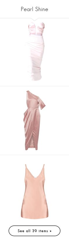 """Pearl Shine"" by venividiamavi ❤ liked on Polyvore featuring dresses, gowns, satinee, edited, pink evening dress, prabal gurung dress, pink evening gowns, pink ball gown, pink gown and pink"